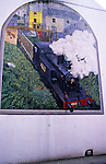 Mural painted on a wall of old steam train in the town of Skibbereen, County Cork, Ireland