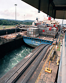 PANAMA, Panama Canal, Panama Canal Locks, a container ship called La Seine passes through the Gatun Locks from the Atlantic to the Pacific, Central America