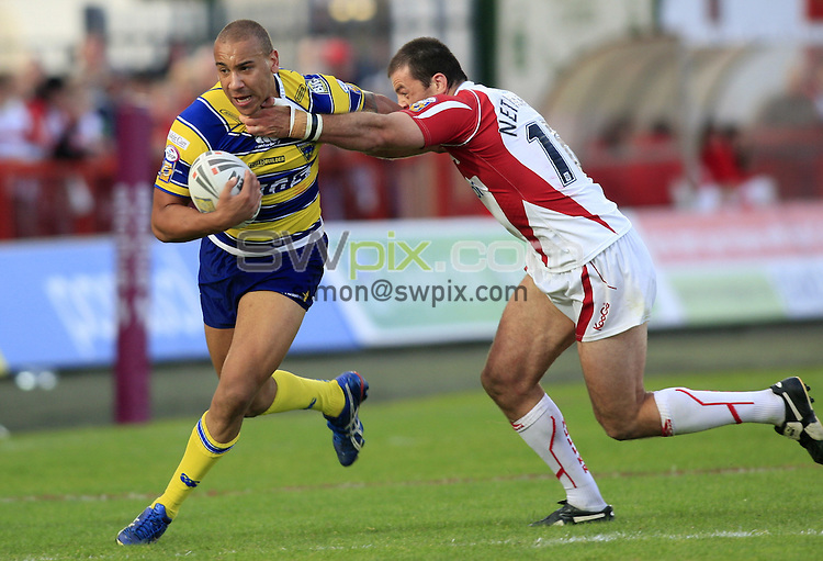 Pix: Chris Mangnall/SWpix.com, Rugby League, Super League. 05/09/09 Hull K R v Warrington Wolves....picture copyright>>Simon Wilkinson>>07811267 706>>....Hull's Jason Netherton  tackles Warrington's Matt Blyth