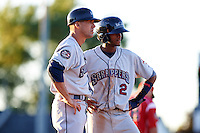 Mahoning Valley Scrappers manager Travis Fryman (17) and second baseman Willi Castro (2) during a game against the Batavia Muckdogs on June 23, 2015 at Dwyer Stadium in Batavia, New York.  Mahoning Valley defeated Batavia 11-2.  (Mike Janes/Four Seam Images)