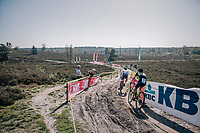 Tom Pidcock (GBR/U23/Telenet Fidea Lions) riding through the deserted heath at the backside of the course<br /> <br /> U23 race<br /> CX Super Prestige Zonhoven 2017