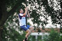 FIERLJEPPEN: IT HEIDENSKIP: 24-05-2014, Bart Helmholt wint met 20.28m, ©foto Martin de Jong