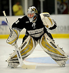 30 December 2007: Western Michigan University Broncos' goaltender Jerry Kuhn, a Freshman from Southgate, MI, warms up prior to a game against the Holy Cross Crusaders at Gutterson Fieldhouse in Burlington, Vermont. The teams skated to a 1-1 tie, however the Broncos took the consolation game in a 2-0 shootout to win the third game of the Sheraton/TD Banknorth Catamount Cup Tournament...Mandatory Photo Credit: Ed Wolfstein Photo