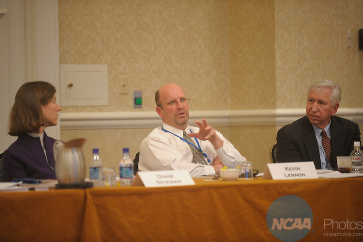 10 JAN 2008:  Staff and delegates participated in the Division I Committee on Academic Performance at the 2008 NCAA Convention held at the Gaylord Palms Opryland Resort and Convention Center in Nashville, TN. Stephen Nowland/NCAA Photos.Pictured: Diane Dickman, Kevin Lennon, Myles Brand - NCAA.