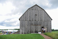 The photographers' workroom is located in a barn adjacent to the driving range during Saturday's round 3 of the 117th U.S. Open, at Erin Hills, Erin, Wisconsin. 6/17/2017.<br /> Picture: Golffile | Ken Murray<br /> <br /> <br /> All photo usage must carry mandatory copyright credit (&copy; Golffile | Ken Murray)