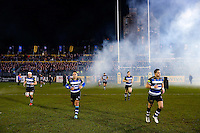 The Bath Rugby team run out onto the field. Aviva Premiership match, between Bath Rugby and Gloucester Rugby on February 5, 2016 at the Recreation Ground in Bath, England. Photo by: Rogan Thomson / JMP for Onside Images
