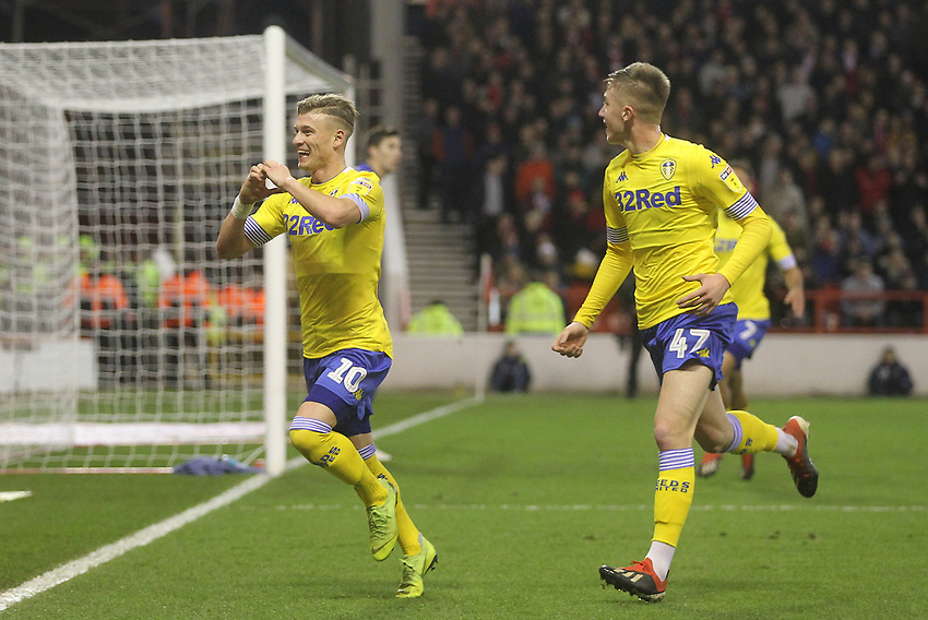 Leeds United's Ezgjan Alioski celebrates scoring his sides second goal <br /> <br /> Photographer Mick Walker/CameraSport<br /> <br /> The EFL Sky Bet Championship - Nottingham Forest v Leeds United - Tuesday 1st January 2019 - The City Ground - Nottingham<br /> <br /> World Copyright © 2019 CameraSport. All rights reserved. 43 Linden Ave. Countesthorpe. Leicester. England. LE8 5PG - Tel: +44 (0) 116 277 4147 - admin@camerasport.com - www.camerasport.com
