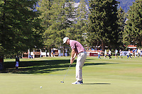 Daniel Brooks (ENG) putts on the 5th green during Sunday's Final Round 4 of the 2018 Omega European Masters, held at the Golf Club Crans-Sur-Sierre, Crans Montana, Switzerland. 9th September 2018.<br /> Picture: Eoin Clarke | Golffile<br /> <br /> <br /> All photos usage must carry mandatory copyright credit (© Golffile | Eoin Clarke)