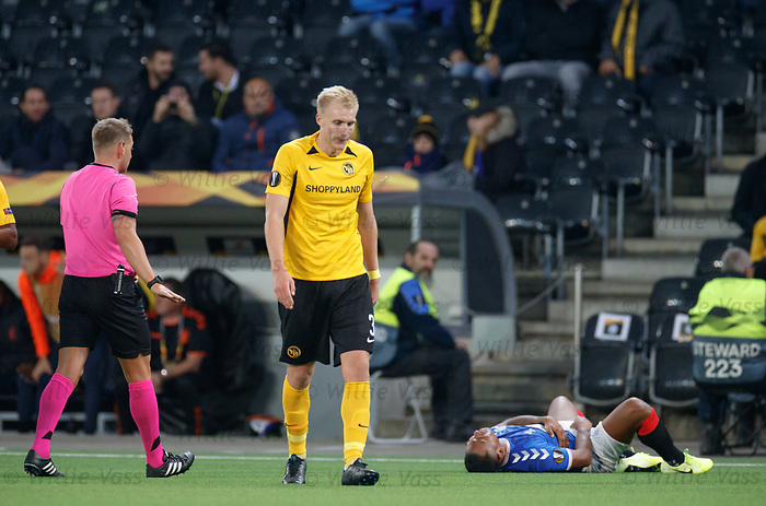 03.10.2019 Young Boys of Bern v Rangers: Referee Manuel Schuettengruber takes no action after Frederik Sorensen clattered Alfredo Morelos