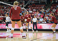 STANFORD, CA - September 9, 2018: Tami Alade, Audriana Fitzmorris, Kathryn Plummer, at Maples Pavilion. The Stanford Cardinal defeated #1 ranked Minnesota 3-1 in the Big Ten / PAC-12 Challenge.