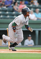 Infielder Delino DeShields, Jr. (4) of the Lexington Legends, a Houston Astros affiliate, in a game against the Greenville Drive on May 3, 2012, at Fluor Field at the West End in Greenville, South Carolina. DeShields Jr. is the No. 8 prospect for the Astros, according to Baseball America. (Tom Priddy/Four Seam Images)
