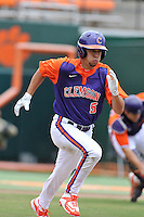 Sophomore infielder Chase Pinder (5) of the Clemson Tigers in a fall practice intra-squad Orange-Purple scrimmage on Saturday, September 26, 2015, at Doug Kingsmore Stadium in Clemson, South Carolina. (Tom Priddy/Four Seam Images)