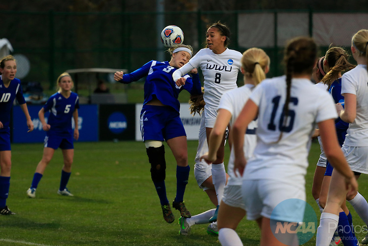 KANSAS CITY, MO - DECEMBER 03:  Sierra Shugarts (8) of Western Washington University and Gabbie Guibord (3) of Grand Valley State University battle for the ball during the Division II Women's Soccer Championship held at Children's Mercy Victory Field at Swope Soccer Village on December 03, 2016 in Kansas City, Missouri. Western Washington University beat Grand Valley State University 3-2 to win the national title.  (Photo by Jack Dempsey/NCAA Photos via Getty Images)