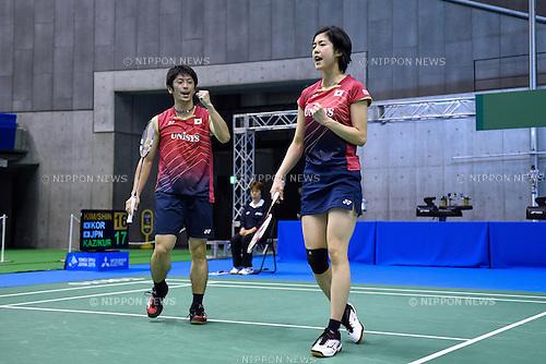 Kenta Kazuno &amp; Ayane Kurihara (JPN), <br /> SEPTEMBER 9, 2015 - Badminton : <br /> Yonex Open Japan 2015 <br /> Mix doubles 1st round <br /> at Tokyo Metropolitan Gymnasium, Tokyo, Japan. <br /> (Photo by AFLO SPORT)