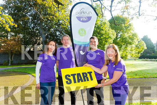 Kerry parkrunners organisers calling for more to be set up. Pictured  Siobhan Kearney (Tralee parkrun), Alan Ryan (Killarney parkrun), Tim Segal (Listowel parkrun) and Caroline Lynch (Tralee junior parkrun)