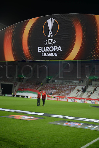 18.02.2016. Augsburg, Germany. UEFA Europa League football. Augsburg versus Liverpool FC.  CAIUBY (FC Augsburg) and Raul BOBADILLA (FC Augsburg)