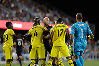 SAN JOSE, CA - AUGUST 03: Magnus Eriksson, Jonathan Mensah  during a Major League Soccer (MLS) match between the San Jose Earthquakes and the Columbus Crew on August 03, 2019 at Avaya Stadium in San Jose, California.