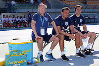 England U18 Head Coach Neil Dewsnip, sits down ahead of kick-off during England Under-18 vs Ivory Coast Under-20, Toulon Tournament Final Football at Stade de Lattre-de-Tassigny on 10th June 2017