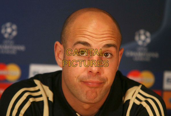 PEPE REINA (Liverpool goalkeeper) .Press conference for the forthcoming UEFA Champions League Quarter Final 2nd leg football match against Chelsea at Stamford Bridge, London, England..April 13th, 2009.headshot portrait wrinkles forehead .CAP/DS.©Dudley Smith/Capital Pictures