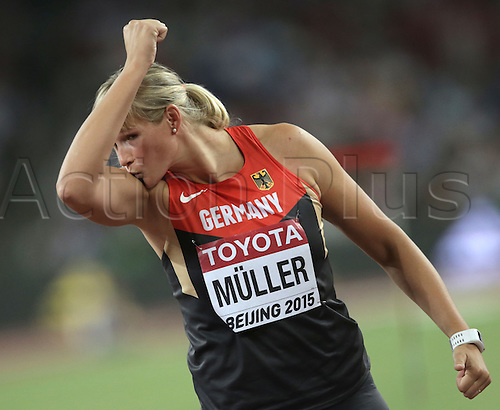 25.08.2015. Beijing, China.  Nadine Mueller ofGermany reacts during the women's Discus Throw final of the Beijing 2015 IAAF World Championships at the National Stadium, also known as Bird's Nest, in Beijing, China, 25 August 2015.