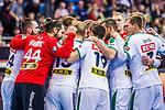 Freude beim SC DHfK Leipzig beim Spiel in der Handball Bundesliga, SG BBM Bietigheim - SC DHfK Leipzig.<br /> <br /> Foto &copy; PIX-Sportfotos *** Foto ist honorarpflichtig! *** Auf Anfrage in hoeherer Qualitaet/Aufloesung. Belegexemplar erbeten. Veroeffentlichung ausschliesslich fuer journalistisch-publizistische Zwecke. For editorial use only.
