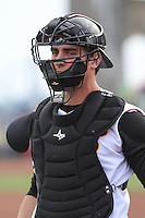 Quad Cities River Bandits catcher Jamie Ritchie (17) during warmups before a Midwest League game against the Wisconsin Timber Rattlers on May 8th, 2015 at Modern Woodmen Park in Davenport, Iowa.  Quad Cities defeated Wisconsin 11-6.  (Brad Krause/Four Seam Images)