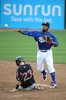 Howie Kendrick (41) of the Rancho Cucamonga Quakes, while on a rehab assignment for the Los Angeles Dodgers, throws to first base after forcing out Nick Schulz (23) of the Lake Elsinore Storm during a game at LoanMart Field on April 10, 2016 in Rancho Cucamonga, California. Lake Elsinore defeated Rancho Cucamonga, 7-6. (Larry Goren/Four Seam Images)