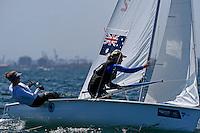 470 / Emma BARSI - Emma BAILLIE (AUS)<br /> ISAF Sailing World Cup Final - Melbourne<br /> St Kilda sailing precinct, Victoria<br /> Port Phillip Bay Tuesday 6 Dec 2016<br /> &copy; Sport the library / Jeff Crow