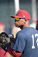 ***Temporary Unedited Reference File***Frisco RoughRiders coach Sharnol Adriana (12) during a game against the Corpus Christi Hooks on April 23, 2016 at Whataburger Field in Corpus Christi, Texas.  Corpus Christi defeated Frisco 3-2.  (Mike Janes/Four Seam Images)