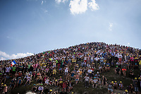 Lots of people on top of the Tourmalet. <br /> <br /> Stage 14: Tarbes to Tourmalet (117km)<br /> 106th Tour de France 2019 (2.UWT)<br /> <br /> ©kramon