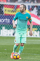 Andres Iniesta of Futbol Club Barcelona  during the match of Spanish La Liga between Atletico de Madrid and Futbol Club Barcelona at Vicente Calderon Stadium in Madrid, Spain. February 26, 2017. (ALTERPHOTOS) /NortEPhoto.com
