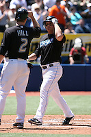 May 24th 2009:  Right Fielder Brad Wilkerson (35) and Aaron Hill (2) of the Toronto Blue Jays after Wilkerson hit a grand slam in the first inning during a game at the Rogers Centre in Toronto, Ontario, Canada .  Photo by:  Mike Janes/Four Seam Images