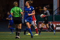 Seattle, WA - Thursday, May 26, 2016: Seattle Reign FC goalkeeper Haley Kopmeyer (28). The Seattle Reign FC of the National Women's Soccer League (NWSL) and the Arsenal Ladies FC of the Women's Super League (FA WSL) played to a 1-1 tie during an international friendly at Memorial Stadium.