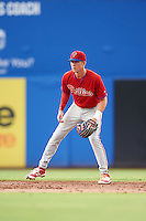 GCL Phillies shortstop Cole Stobbe (7) during the first game of a doubleheader against the GCL Blue Jays on August 15, 2016 at Florida Auto Exchange Stadium in Dunedin, Florida.  GCL Phillies defeated the GCL Blue Jays 7-5 in a completion of a game started on July 30th.  (Mike Janes/Four Seam Images)
