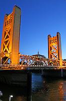 Evening lighting Tower Bridge in Old Sacramento California