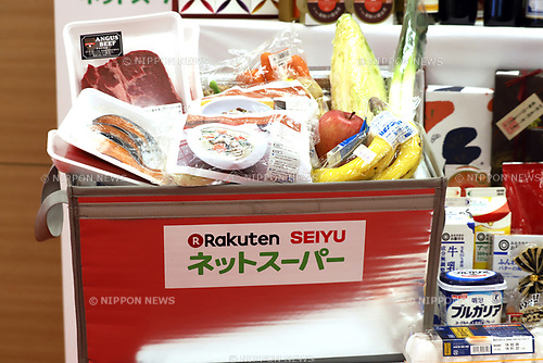 "January 26, 2018, Tokyo, Japan - Japanese supermarket chain Seiyu displays grocery products as Japanese online commerce giant Rakuten and US retail giant Walmart announce a new strategic alliance on the e-commerce at the Rakuten headquarters in Tokyo on Friday, January 26, 2018. Rakuten and Walmart will launch a new online grocery delivery service ""Rakuten Seiyu Netsuper"" in Japan in this year. (Photo by Yoshio Tsunoda/AFLO) LWX -ytd-"
