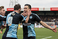 Goalscorer Luke O'Nien of Wycombe Wanderers celebrates with Paul Hayes of Wycombe Wanderers & Jason McCarthy (left) of Wycombe Wanderers during the Sky Bet League 2 match between Wycombe Wanderers and Bristol Rovers at Adams Park, High Wycombe, England on 27 February 2016. Photo by Kevin Prescod.