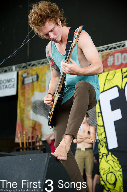 Caleb Turman of Forever The Sickest Kids performs during the Vans Warped Tour at the Klipsch Music Center in Indianapolis, IN.