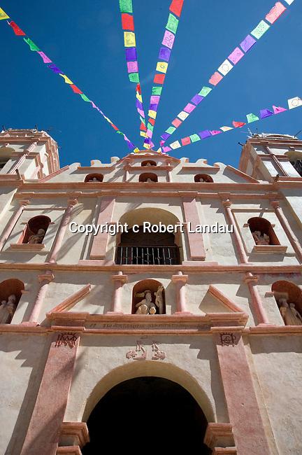 Banners on church in Oaxaca