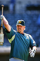 Matt Stairs of the Oakland Athletics during a game against the Anaheim Angels at Angel Stadium circa 1999 in Anaheim, California. (Larry Goren/Four Seam Images)