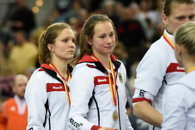 Leipzig, Germany, February 08: Players of Germany look on during the prize giving ceremony at the FIH Indoor Hockey Women World Cup on February 8, 2015 at the Arena Leipzig in Leipzig, Germany. (Photo by Dirk Markgraf / www.265-images.com) *** Local caption ***