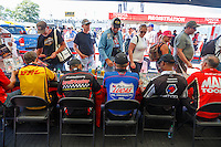 Jun 10, 2016; Englishtown, NJ, USA; NHRA fans get autographs at the Toyota Pit Pass display on the midway during qualifying for the Summernationals at Old Bridge Township Raceway Park. Mandatory Credit: Mark J. Rebilas-USA TODAY Sports