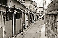 Narrow street in Nara Japan January 2010