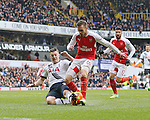 Tottenham's Kevin Wimmer tussles with Arsenal's Aaron Ramsey<br /> <br /> - English Premier League - Tottenham Hotspur vs Arsenal  - White Hart Lane - London - England - 5th March 2016 - Pic David Klein/Sportimage