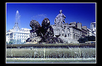 Fountain of Cibeles, Plaza de Cibeles, Madrid, Spain - September 1990 -<br /> <br /> Named after Cybele (or Ceres) Roman goddess of nature, is seen as one of Madrid's most important symbols. Built in the reign of Charles III (1759 to 1788) and designed by Ventura Rodr&iacute;guez between 1777 and 1782.