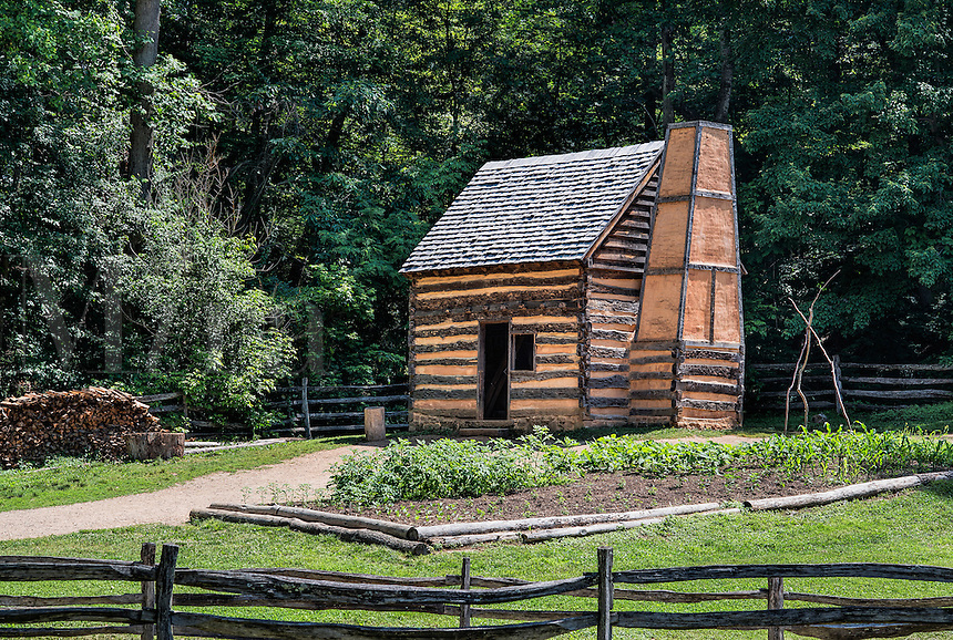 Slave cabin on the George Washington estate, Mt Vernon, Virginia, USA