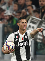 Calcio, Serie A: Juventus - Genoa, Turin, Allianz Stadium, October 20, 2018.<br /> Juventus' Cristiano Ronaldo reacts during the Italian Serie A football match between Juventus and Genoa at Torino's Allianz stadium, October 20, 2018.<br /> UPDATE IMAGES PRESS/Isabella Bonotto