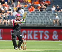 26th December 2019; Optus Stadium, Perth, Western Australia, Australia;  Big Bash League Cricket, Perth Scorchers versus Sydney Sixers; Daniel Hughes of the Sydney Sixers plays and misses outside the off stump - Editorial Use