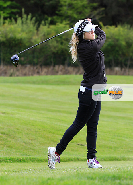Ellie Goodall (ENG) on the 9th tee during Round 1 of the Irish Women's Open Strokeplay Championship at Dun Laoghaire Golf Club on Saturday 23rd May 2015.<br /> Picture:  Thos Caffrey / www.golffile.ie
