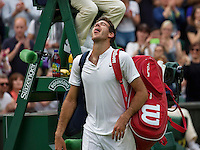 London, England, 01 July, 2016, Tennis, Wimbledon, Juan Martin Del Potro (ARG) reacts after defeating Stanislas Wawrinka (SUI)<br /> Photo: Henk Koster/tennisimages.com